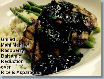 Grilled Mahi Mahi with Raspberry Balsamic Reduction over Rice and Asparagus